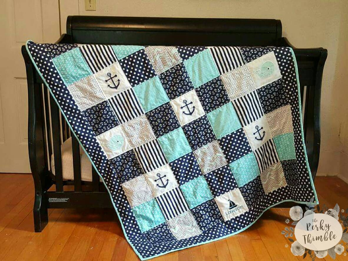 Nautical Crib Quilt Nautical Crib Bedding Baby Boy Quilt