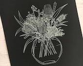 Australian Flora Bouquet - white ink