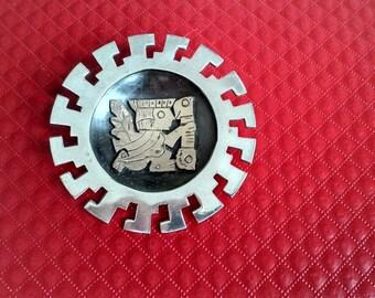 Brooch, Pendant, Sterling, 18K Gold, Inca