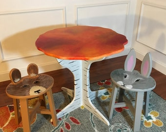 "Woodland Wonderland Table set (22"" Tall) (table + 4 stools)"
