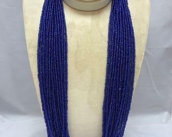 Southwest Dark Blue Seed Bead Necklace TWENTY STRAND Handcrafted Multi-Strand