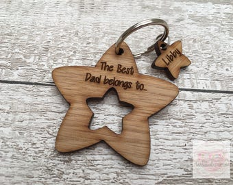 Wooden Laser Engraved Dad, Daddy, Grandad Star Keyring