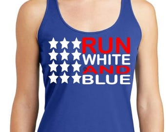 Running tank ~ Workout Tank~ RUN white and blue
