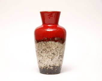 West German Fat Lava and Red Vase by SCHEURICH Form 523 18
