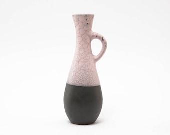 Vintage German Handled Vase Snakeskin Texture in Pale Pink EY 29