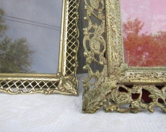 Fancy Picture Frames, Gold Filigree frames, Mother Daughter picture frame, Vintage ornate picture frames, Set of 2, Christmas gifts for her