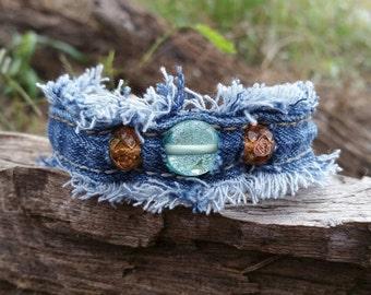 Frayed Denim Cuff Bracelet with Glass Beads