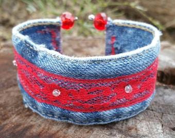 Denim Cuff Bracelet with Red Lace