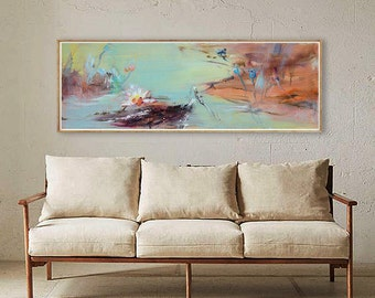 Oil painting, Large Abstract Landscape Oil Painting, Canvas Art. Hand made, Teal Blue, brown, gray, lotus, flower, Huge Abstract, original.