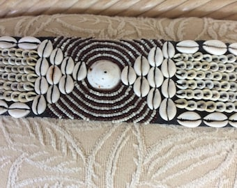 "Vintage Shell and Glass Beaded Boho Ikat Belt. 35"" Long, 3"" Wide, Excellent!"