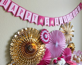 Pretty Pink Princess Banner / Pink and Gold Banner / Princess Banner / Princess Birthday Banner / Pink and Gold Princess Banner / Birthday