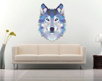 Wolf Wall Decal Sticker Modern Geometric Low Poly Wolf Spirit Animal    Color High Quality Laminated Part 63