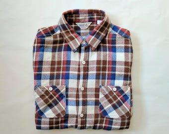 Vintage Men's Flannel Shirt, Five Brother Shirt, Brown / Blue / Red / White Check Shirt, Plaid Shirt, American Lumberjack Shirt