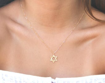 GOLD Star of David Necklace, Delicate Star Of David Necklace, Judaica Jewelry, David Star Necklace, Gold Magen David, Jewish Jewelry, Gift.
