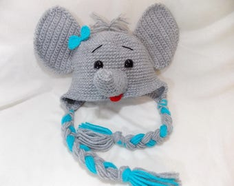 Little Mr Elephant Beanie in Gray and  Blue Available in Newborn to 5 Years Size- MADE TO ORDER