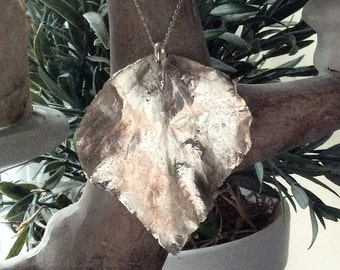 Handmade fine silver large leaf pendant, handmade in the U.K., leaf pendant, silver pendant, gift,