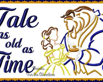 Tale As Old As Time Princess Belle and the Beast from Beauty and the Beast Sketch Combo Digital Embroidery Machine  Design File   5x7 6x10