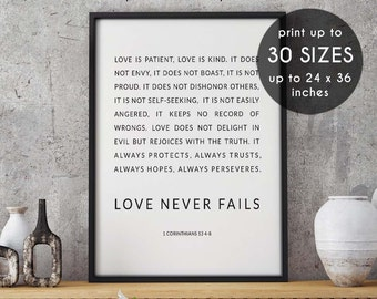 1 corinthians 13, love is patient, bible verse, love is kind, love never fails, scripture, bible verse print, 1 corinthians, wedding gift,14