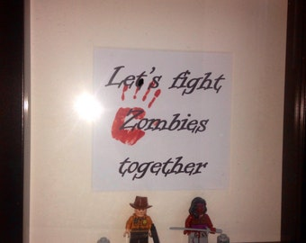 "Walking Dead mini figure frame Rick Grimes and Michonne Valentines Day ""Lets fight zombies together"" gift frame"