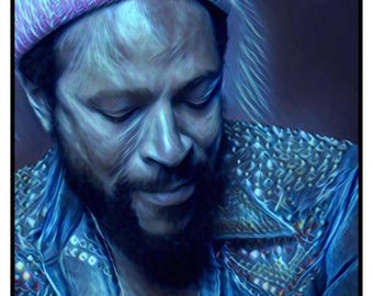 MARVIN GAYE Blue Canvas Wall Art