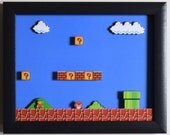 "Super Mario Bros (Nintendo) - ""1-1"" 3D Video Game Shadow Box with Glass Frame"