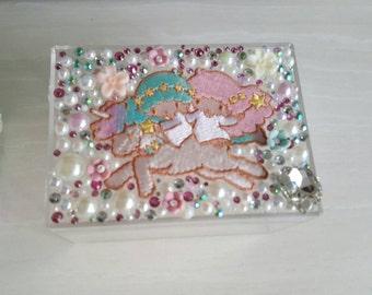 Handmade Crystals & pearls embellished acrylic box