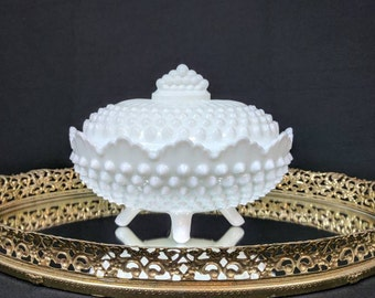 Reserved - Vintage Fenton White Milk Glass Hobnail Footed Oval Candy Dish with Lid