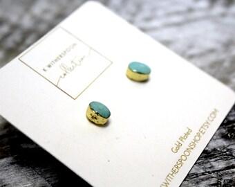 Natural Stone Light Blue Turqoiuse Minimialist Gold Plated Stud Earrings