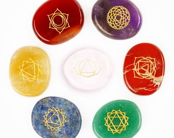 Chakra Stones Set of 7 Authentic Healing Crystals – Engraved Reiki Aura-Cleansing and Balancing Pocket Stones
