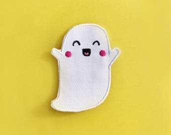 SALE: Ghosty Embroidered Patch | iron on woven embroidery patch