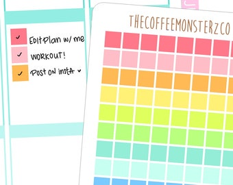 rainbow square checklists - functional planner stickers C046