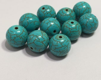 12 mm 10 pc Turquoise Dyed Howlite