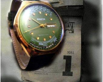 Vintage Mens watchRAKETA COLLEGE Perpetual Calendar, russian raketa watch - 1980s  2628H USSR watches, Perfect Working Condition