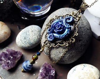 Tentacle Rose Cameo Necklace