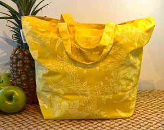 Hawaiian Print Shopping Bag in Sunny Lemon Yellow, Tone-on-Tone Yellow Hawaii Flower Print Tote, Folding Cotton Tote Bag with Short Handles