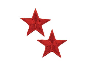 Red Stars Iron On Applique, Red Stars Iron on Patch, Fun Patch, Kids Patch, Embroidered Patch (110214)