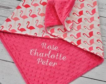 Flamingo Minky baby blanket  - Personalized Flamingo baby minky blanket - Flamingo baby blanket - Flamingo nursery - Personalized baby blank