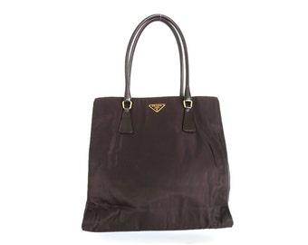 Authentic PRADA Dark Brown Nylon Leather Tote Shoulder Bag