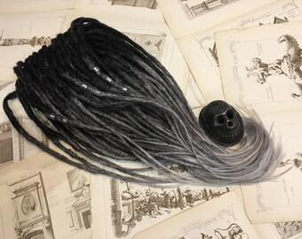 Set MONOCHROME synthetic dreadlocks. Black to dark grey to grey ombre dreads.
