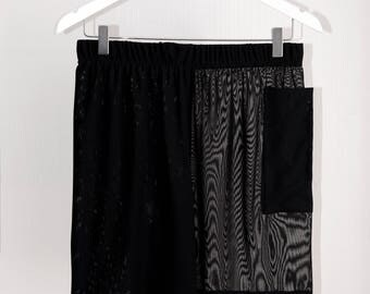 Black Layered Mesh Shorts with Attatched Side Pocket