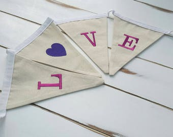 Fabric bunting   Love Bunting   Love Pennant   Love Banner   Wedding Decor   Embroidered Banner   Embroidered Bunting   Love Flags   Banner