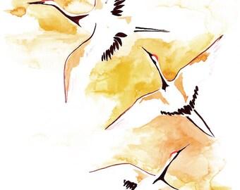 Three flying cranes