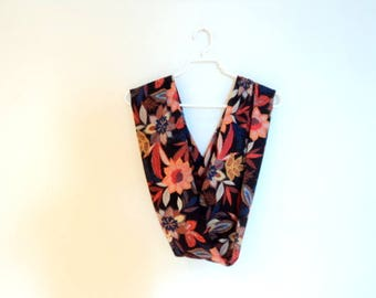 Multicolor scarf. Infinity scarf with flowers.