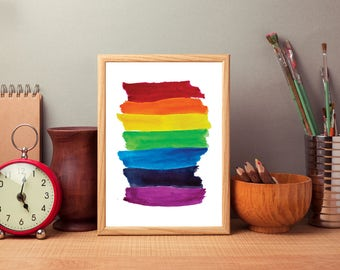Rainbow Nursery Wall Art Print, Rainbow Digital Download, Children's Art Decor, Colorful Bedroom Art, Child's Room Decoration, Primary Art