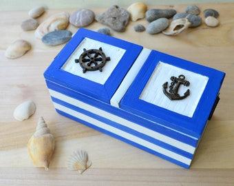 Nautical wedding ring box, beach proposal engagement ring box anchor wood jewelry box personalized ring holder bearer box pillow alternative
