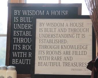 Proverbs 24 By Wisdom A House Is Built Bible Verse Dorm Decor Sign Homeschool Classical Conversations Farmhouse Market Magnolia Farms Gaines