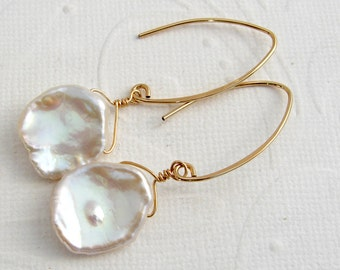 White Pearl Earrings gold plated keshi pearls, goldfilled, Cornflake pearls 15 mm, Bridal jewelry, sterling silver
