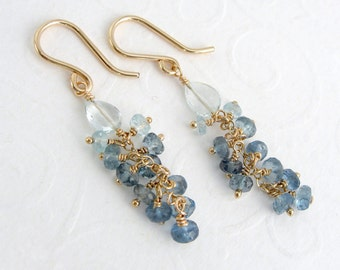 Aquamarine earrings, goldfilled gold, ombre, gradient, Santa Maria aquamarine