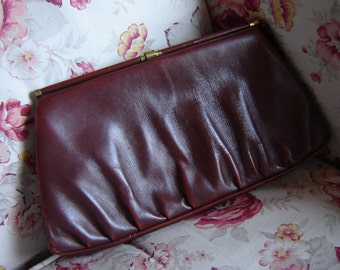 40s clutch - best leather - red-braun-
