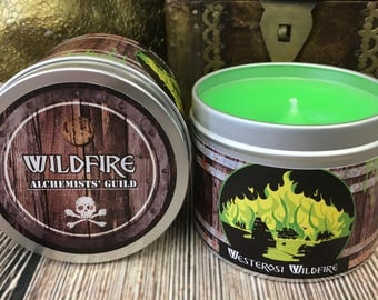 Westerosi Wildfire scented candle - Lemongrass & peppermint - Game of thrones style candle - Wildfire Candle - GOT - Game Thrones - wildfire
